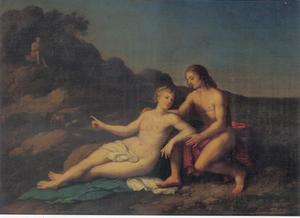 Acis en Galathea als minnaars