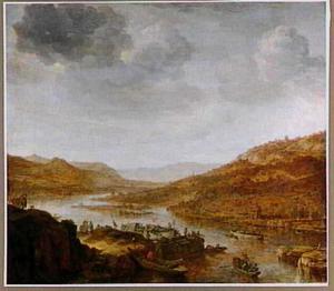 Rijnlandschap met landingsplaats op de voorgrond