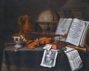Stilleven met een globe, muziekinstrumenten, een partituur, een open boek, een zandloper en andere objecten