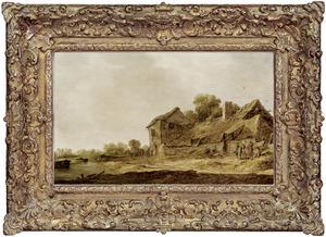 Landschap met figuren bij een boerderij