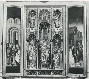 Het huwelijk van Maria en Jozef (binnenzijde linkerluik); De HH. Catharina, Maria met Kind en de HH. Barbara (middendeel); De geboorte (binnenzijde rechterluik)