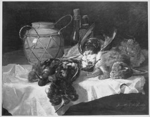Stilleven met dode haas, gevogelte, aardewerk en radijs
