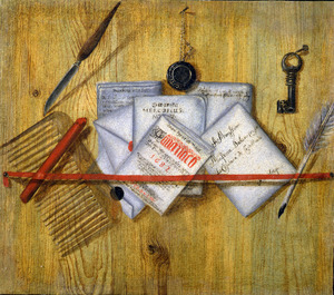 Trompe l'oeil met brieven achter een rood lint