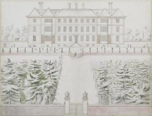 Architectuurtekening van Ham House gezien vanuit het zuiden