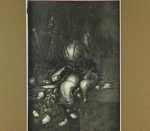 Vanitasstilleven met globe, boeken, rozen en dood gevogelte