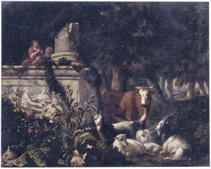 Zuidelijk boslandschap met fluitspelende herders bij een klassieke ruïne