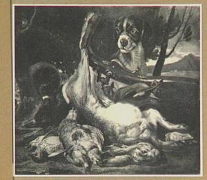 Hond bij een jachtbuit van haas en gevogelte in een landschap