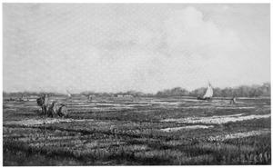 Arbeiders in bollenvelden langs een rivier