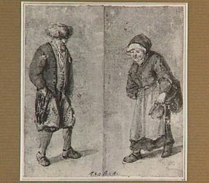 Staande man met bontmuts en marktvrouw