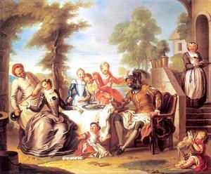 Don Quichot bediend door dienstmeisjes van de herberg