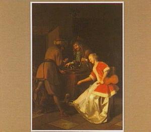 Interieur met triktrak-spelende mannen en een vrouw met een viool