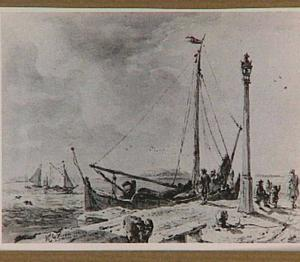 Rotterdam, zeilboot afgemeerd bij een steiger aan het Boeregat
