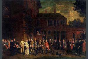 Ontvangst van de abt van St.-Michiels door de leden van de Schermersgilde