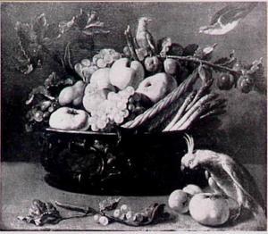 Stilleven van vruchten en asperges met rechts een papegaai