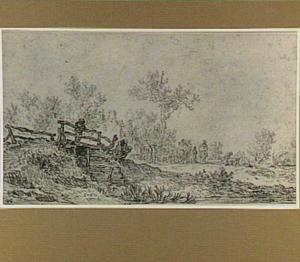 Landschap met houten brug bij een herberg