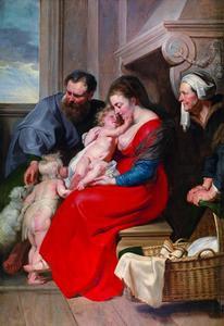 De Heilige Familie met de HH. Anna en Johannes de Doper
