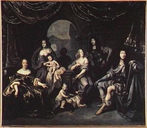 Groepsportret van Lodewijk XIV de Bourbon, koning van Frankrijk (1638-1715) en zijn familieleden