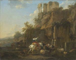 Rotsachtig landschap met antieke ruïne