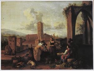 Zuidelijk landschap met groentenmarkt bij een ruïne