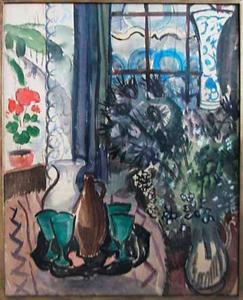 Interieur met boeket bloemen en kan en glazen op een tafel
