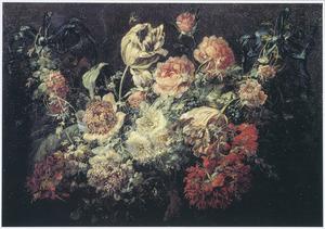 Bloemguirlande met rozen, anemonen, tulpen en andere bloemen