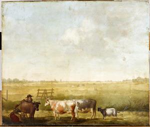 Weidelandschap met koeien die gemolken worden