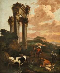 Landchap met vee bij een klassieke ruïne