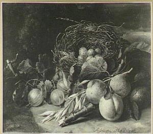 Vruchtenstilleven met een vogelnestje
