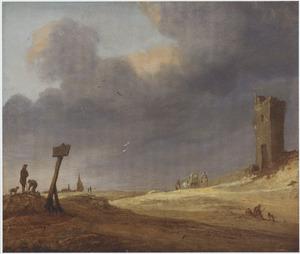 Duinlandschap met ruïne en figuren