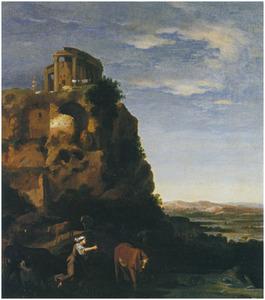 Italianiserend landschap met vee en herders, de tempel van de Sibylle op een berg