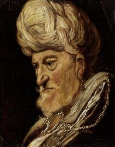 Kop van een bebaarde man met tulband