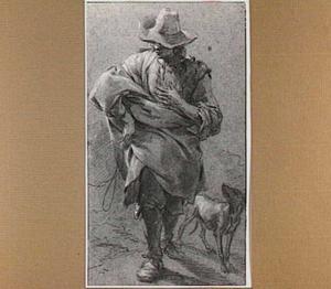 Wandelende herder met een hond