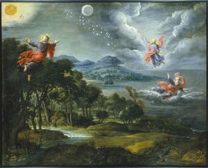 Landschap met de Schepping: het scheiden van hemel water (dag twee), het creëren van droog land en begroeiing (dag drie) en het scheppen van zon, maan en sterren (dag vier)