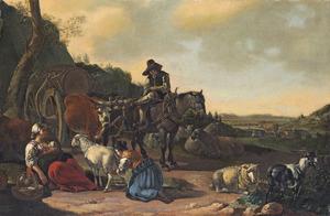 Zuidelijk landschap met een ossenwagen, op de voorgrond herderinnen bij het geiten melken