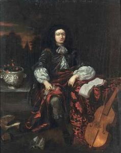 Portret van een man met een muziekboek en een viola da gamba