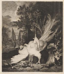 Stilleven met jachtbuit van een witte pauw, ander gevogelte en een haas in een paleistuin