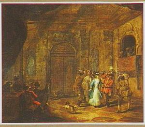 Paleisinterieur met als Turken vermomd dansend gezelschap en orkestje