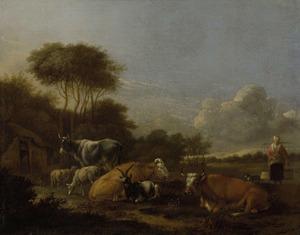 Landschap met melkmeid en vee voor een boerderij