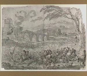 Ruitergevecht bij een fortificatie