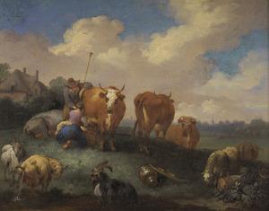 Landschap met een herder en een vrouw die een koe melkt met een boerderij in de achtergrond