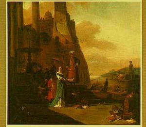 Zuidelijk havengezicht  met oosterling en dame met haar page bij een fontein