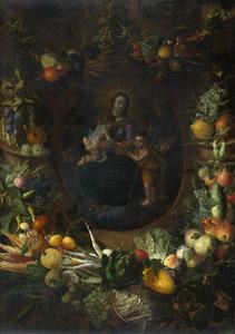 Schikking van vruchten en groenten rond een cartouche met een voorstelling van Maria met Christus en Johannes als kinderen