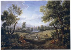 Zuidelijk landschap met oogstende boeren