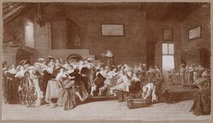 Elegant feestend gezelschap in een interieur
