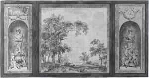 Achterwand met twee trompe-l'oeil beeldhouwwerken ter weerszijden van een rivierlandschap