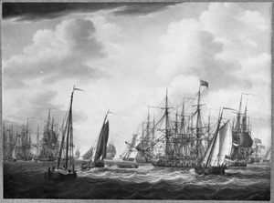 De Engelse vloot voor anker op de rede van Den Helder, bij Callantsoog in 1799