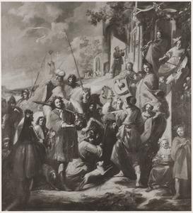 De triomf van David: de vrouwen van Israël halen hem in met zang, dans en muziek (1 (Samuel 17: 53-54 en 18:6)