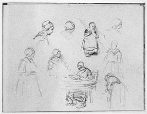 Schetsboekblad met figuurstudies