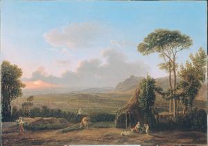 Zuidelijk landschap met gezicht op een stad in een dal bij laag zonlicht