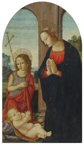 De aanbidding van het Christuskind door de maagd en Johannes de Doper als kind